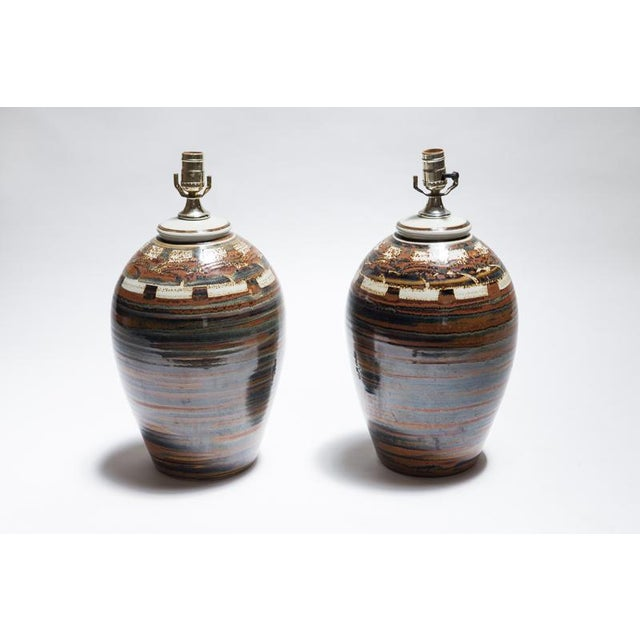 Signed Petteford Studio Pottery Lamps - A Pair - Image 2 of 6