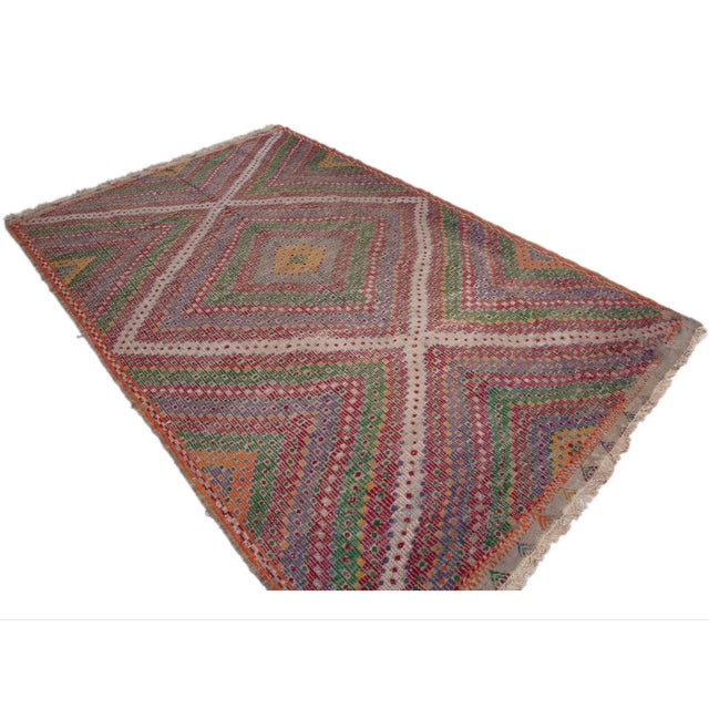 Vintage Flat Weave Turkish Kilim - 6′4″ × 9′11″ - Image 6 of 7