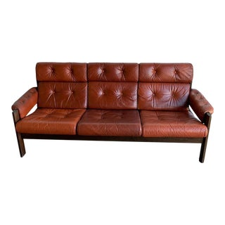 1960s Patinated Leather Sofa For Sale