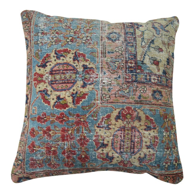 Antique Persian Tabriz Rug Pillow For Sale