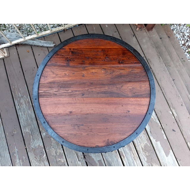 Industrial Farmhouse Round 2 Tier Reclaimed Chestnut Wood & Steel Coffee Table For Sale - Image 10 of 13