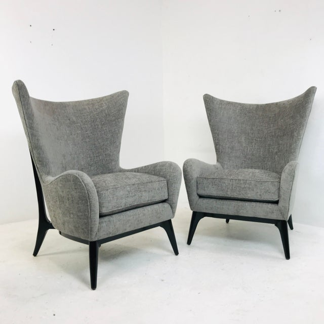 "Caracole ""What's New Pussycat"" Mid-Century Modern Wingback Chairs - a Pair For Sale - Image 10 of 10"