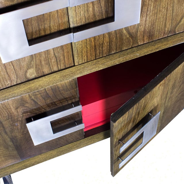 Modern 1970s Dry Bar by Jordi Vilanova, Six Doors, Walnut, Lacquer, Brass, Barcelona For Sale - Image 3 of 12