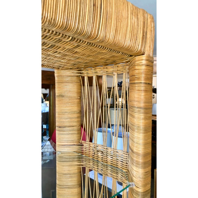 Wood Pair Rattan Etageres From 70's For Sale - Image 7 of 10