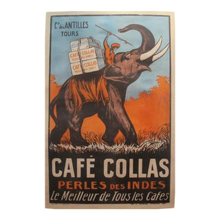 1927 French Vintage Coffee Poster, Cafe Collas Elephant
