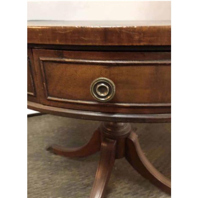 W. & J. Sloane 20th Century Traditional W & J Sloane Drum Leather Table For Sale - Image 4 of 13