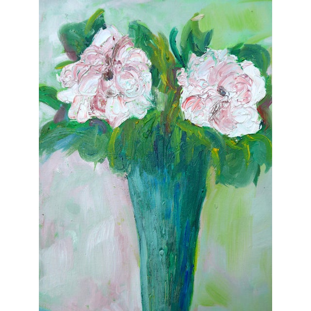 Canvas Impressionist Two French Roses on Green Contemporary Oil Painting For Sale - Image 7 of 8