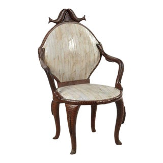 19th Century Fish Carved Arm Chair with Eel Skin Upholstery For Sale