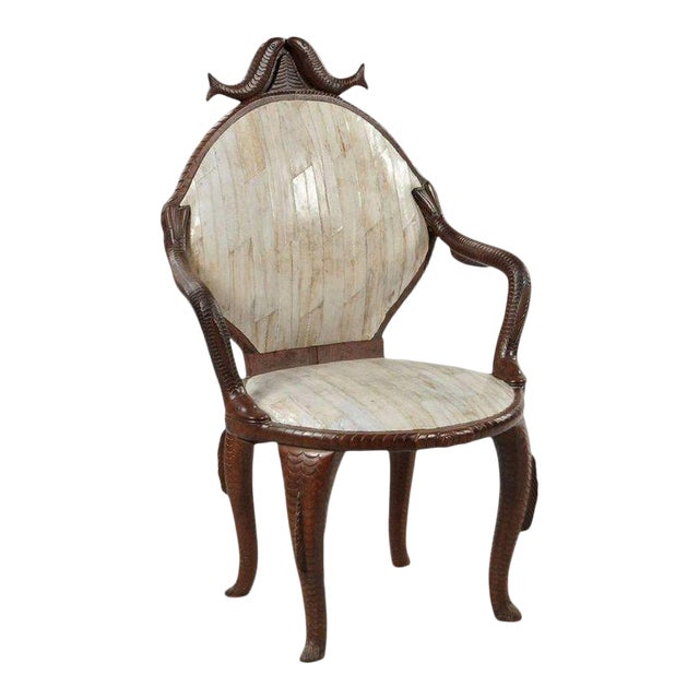 19th Century Fish Carved Arm Chair with Eel Skin Upholstery - Image 1 of 11