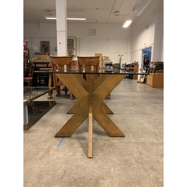 2010s West Elm Double Pedestal Wood X Base + Glass Top Table For Sale - Image 5 of 8