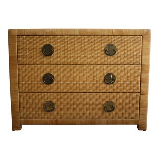 Vintage Natural Wicker & Rattan 3 Drawer Chest of Drawers