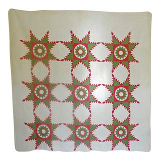 Antique Folk Art Touching Stars Quilt For Sale
