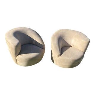 Vladimir Kagan Style Nautilus Swivel Lounge Chairs - a Pair For Sale