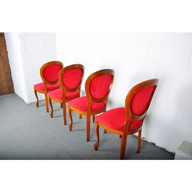 Vintage Set of 4 French Louis XV Maple Dining Chairs W/ Red Velvet Upholstery For Sale - Image 9 of 11
