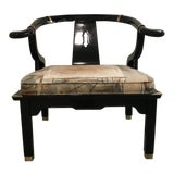 Image of 1960s Vintage James Mont Style Ming Black Lacquer Chair For Sale