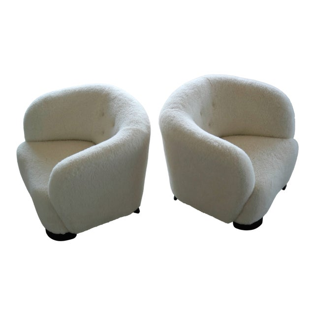 Danish 1940s Pair of Viggo Boesen Style Lounge or Club Chairs in Lambswool For Sale