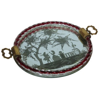 Etched Murano Glass Mirrored Tray by Ercole Barovier