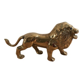 Mid-Century Solid Brass Lion With Blue Eyes
