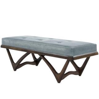 Modernist Sculptural Walnut Bench For Sale