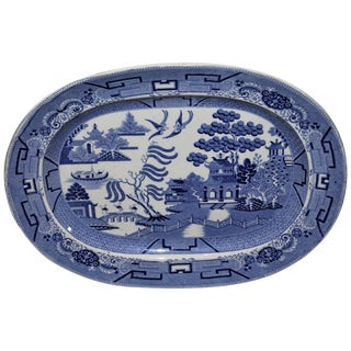 Early and Rare 19th Century Oversized Blue Willow Serving Platter For Sale