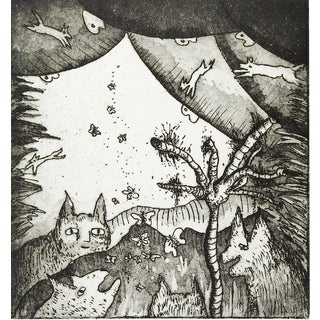 Abstract Dogs & Cats Etching