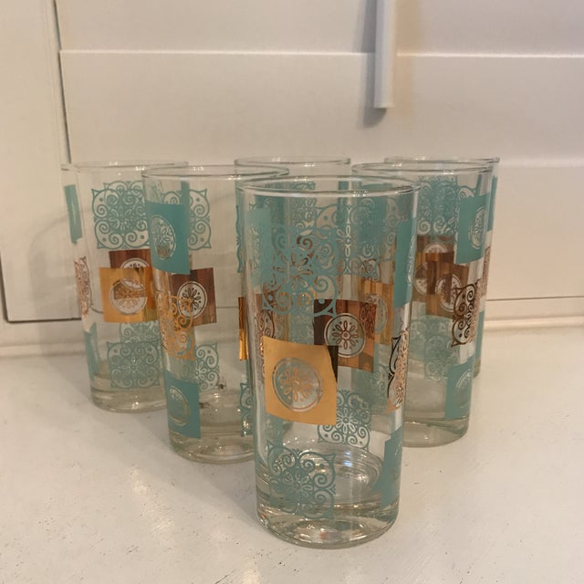 Glass Vintage Mid-Century Aqua and Gold Cocktail Glasses - Set of 6 For Sale - Image 7 of 7