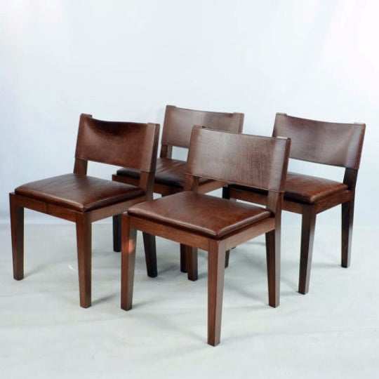 Hudson Furniture Modern Leather Chairs - Set of 4 - Image 2 of 6