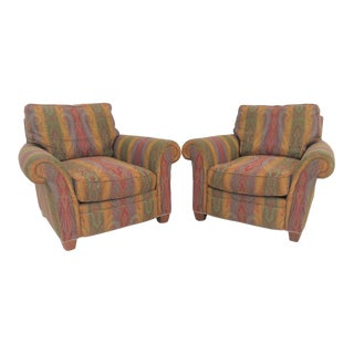 Baker Paisley Upholstered Club Chairs - A Pair For Sale