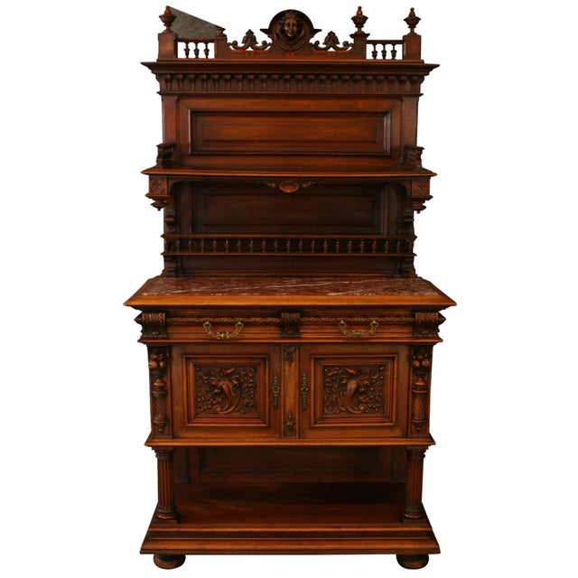 Offered is a Henry II style French sideboard server, circa 1900. This stunning piece is made from walnut with delicate...