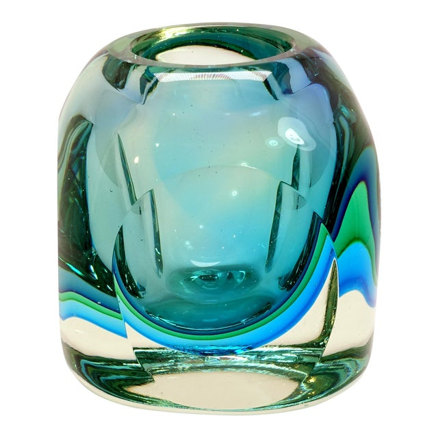 Mid-Century Modern Flavio Poli Seguso Murano Blue Faceted Orb Paper Weight For Sale