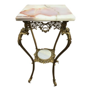 Antique French Gilt Bronze 2 Tier Onyx Top Cherub Plant Stand For Sale