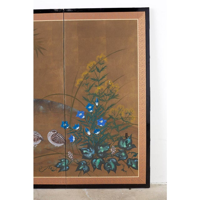 Mid 20th Century Japanese Four Panel Screen Quail in Flower Bamboo Landscape For Sale - Image 5 of 13