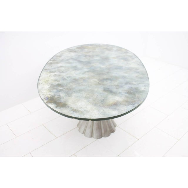 1970s Oval Dining Table With Mirrored Glass Top and Metal Base Italy 1960s For Sale - Image 5 of 11