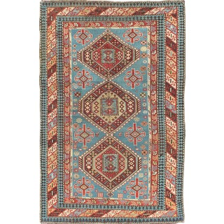 Antique Caucasian Shirvan Rug in Blue Background For Sale