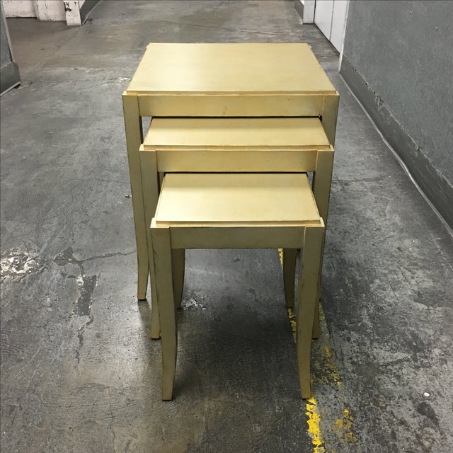 New Loggia Showroom Wooden Nesting Tables With Metallic Finish - 3 - Image 5 of 7
