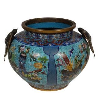 Antique Chinese Large Cloisonne Pot For Sale
