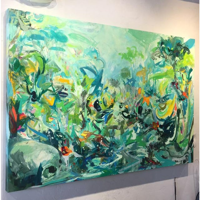 This 78 x 42 in. painting is gallery wrapped and can be hung without framing. Tom calls his work spontaneous process...