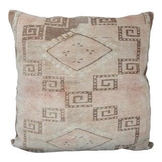 Vintage Turkish Decorative Oushak Rug Pillow For Sale