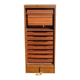 Vintage Danish Modern Mid Century Modern File Cabinet W Roll Up Made in Denmark For Sale
