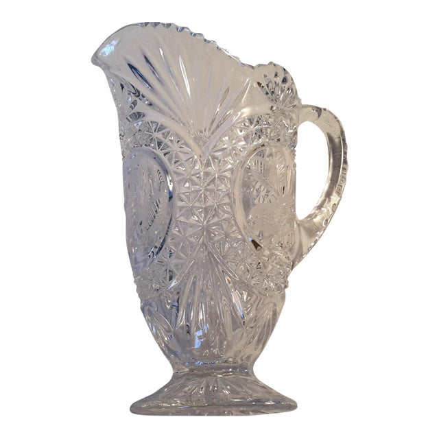 Simply Beautiful Etched Bird Motif Clear Cut Glass Footed Pitcher For Sale - Image 12 of 12