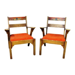 Mid Century Paint Decorated Arm Chairs - a Pair For Sale