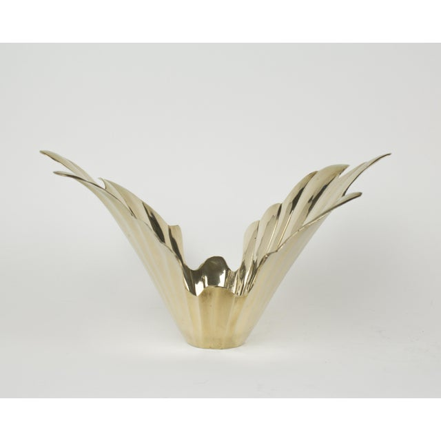 Anglo-Indian Vintage 1950s Art Deco Style Brass Vase For Sale - Image 3 of 7