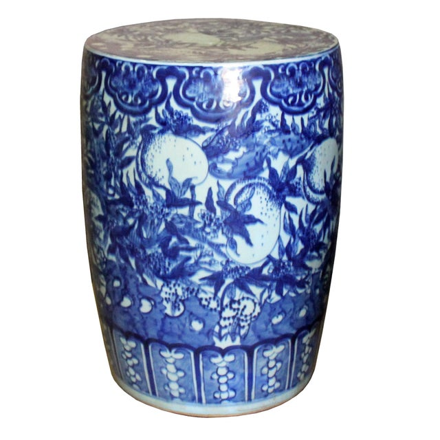 Chinese Round Peach Flower Blue White Porcelain Stool Table For Sale In San Francisco - Image 6 of 7