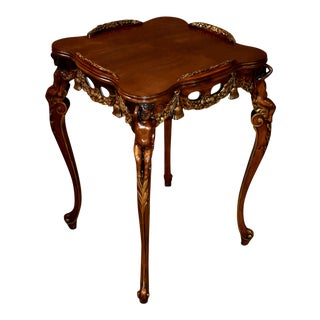 1940s Vintage Carved French Style Accent Table with Cherubs & Gold Highlights For Sale