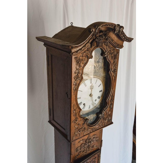 Carved 18th C French Lantern Clock Case With Movement For Sale - Image 9 of 13