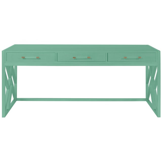 Transitional Casa Cosima CeCe Desk with Wood Fretwork Base, Southfield Green For Sale - Image 3 of 3