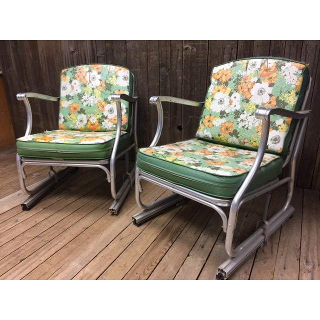 Green Mid Century Modern Bunting Aluminum Glider Patio Chairs - A Pair For Sale - Image 8 of 11