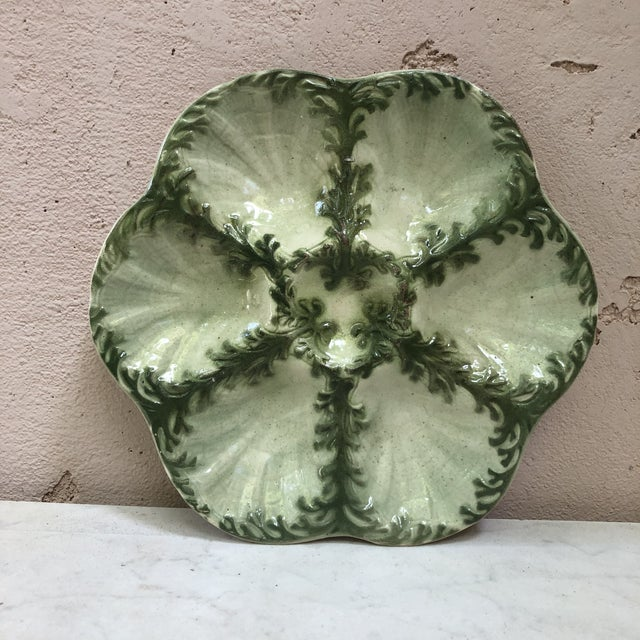 Late 19th Century 19th Century Vintage Keller Et Guerin Saint Clement Majolica Seaweeds Oyster Plate For Sale - Image 5 of 5