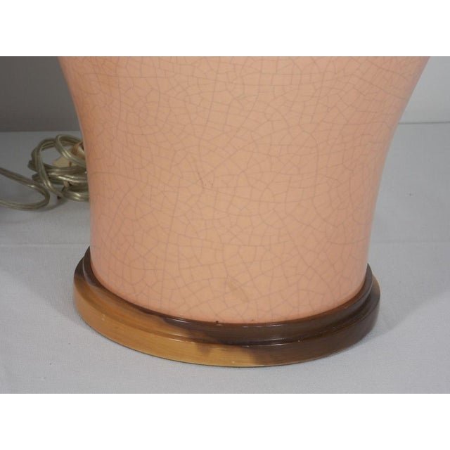 Asian Mid-Century Peach Crackle Glaze Pottery Jar Table Lamps - a Pair For Sale - Image 3 of 13