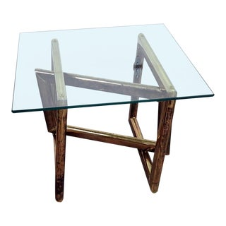 Industrial Style Glass Top Coffee Table For Sale